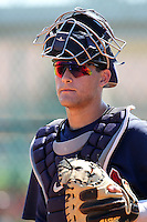 Atlanta Braves catcher Nick DeSantiago #39 during an Instructional League game against the Pittsburgh Pirates at Pirate City on October 14, 2011 in Bradenton, Florida.  (Mike Janes/Four Seam Images)