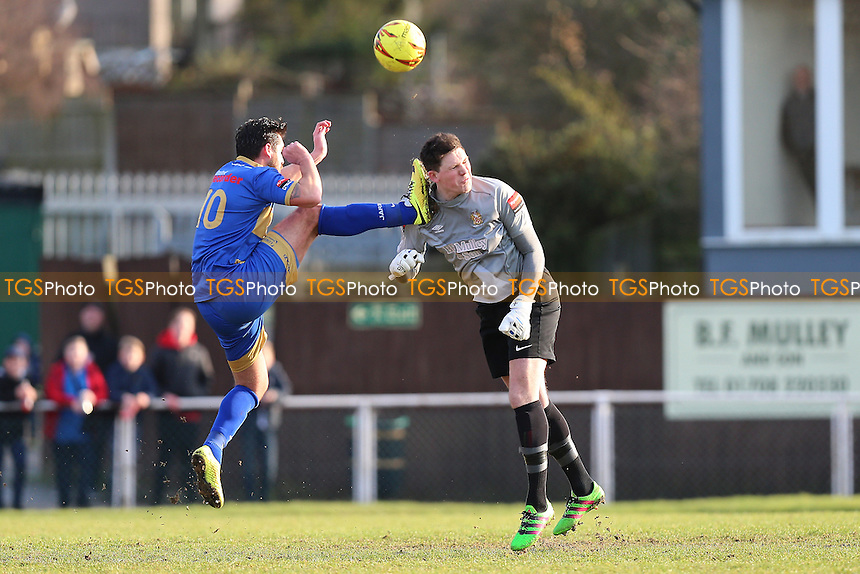 Chris Taylor of Romford tangles with Sam Mott of Hornchurch during AFC Hornchurch vs Romford, Ryman League Division 1 North Football at Hornchurch Stadium on 4th February 2017