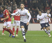 Preston North End's Louis Moult celebrates scoring his sides first goal <br /> Photographer Mick Walker/CameraSport<br /> <br /> The EFL Sky Bet Championship - Nottingham Forest v Preston North End - Saturday 8th December 2018 - The City Ground - Nottingham<br /> <br /> World Copyright © 2018 CameraSport. All rights reserved. 43 Linden Ave. Countesthorpe. Leicester. England. LE8 5PG - Tel: +44 (0) 116 277 4147 - admin@camerasport.com - www.camerasport.com