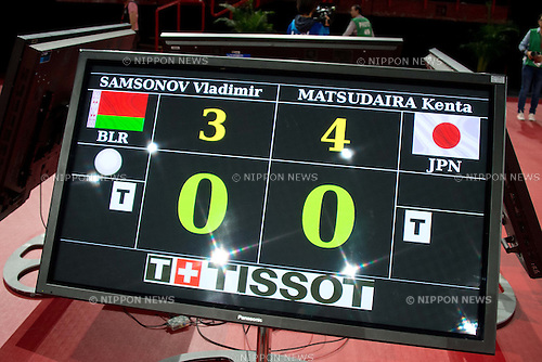 Scoreboard, MAY 18, 2013 - Table Tenis : Kenta Matsudaira of Japan competes during men's singles round of 16 of the 2013 World Table Tennis Championships at Palais Omnisport de Paris Bercy, Paris, France. (Photo by Enrico Calderoni/AFLO SPORT) [0391]