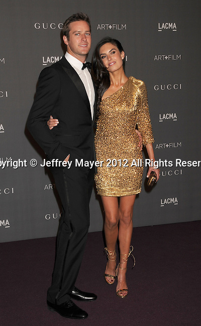 LOS ANGELES, CA - OCTOBER 27: Armie Hammer and Elizabeth Chambers arrive at LACMA Art + Film Gala at LACMA on October 27, 2012 in Los Angeles, California.