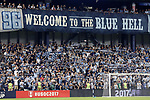 KANSAS CITY, KS - SEPTEMBER 20: SKC fans in The Cauldron hold up their scarves before the game. Sporting Kansas City hosted the New York Red Bulls on September 20, 2017 at Children's Mercy Park in Kansas City, KS in the 2017 Lamar Hunt U.S. Open Cup Final. Sporting Kansas City won the match 2-1.