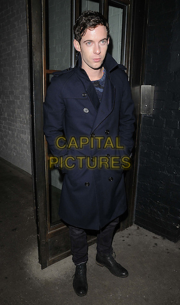 Harry Treadaway.The InStyle Best Of British Talent party, Shoreditch House, Ebor St., London, England..January 26th, 2012.full length blue trenchcoat trench coat hands in pockets .CAP/CAN.©Can Nguyen/Capital Pictures.