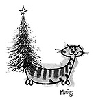(A cat with a Christmas tree for a tail)