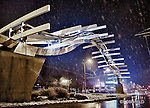 "Sculpture honoring the Wright Brothers first flight. ""Flyover"" is on Main St. Dayton Ohio. Beautiful even in the snow at night"