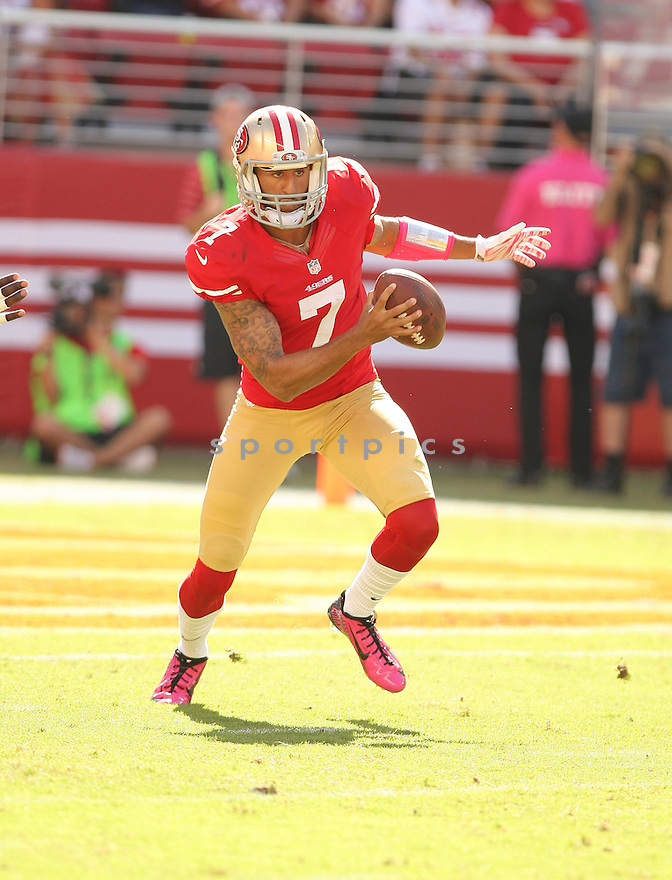 San Francisco 49ers Colin Kaepernick (7) during a game against the Kansas City Chiefs on October 5, 2014 at Levi's Stadium in Santa Clara, CA. the 49ers beat the Chiefs 22-17.
