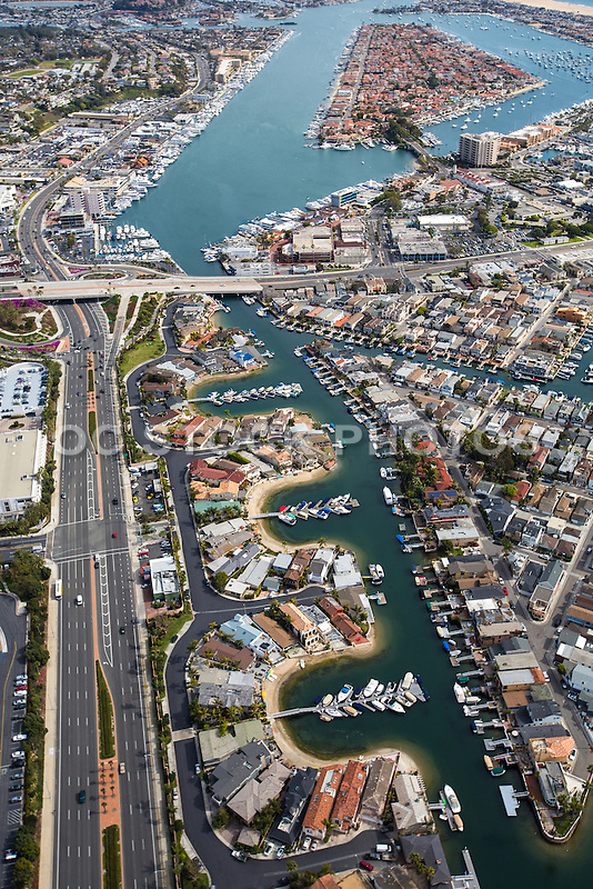 Aerial Stock Photo Of Balboa Coves And Pacific Coast Highway In Newport Beach