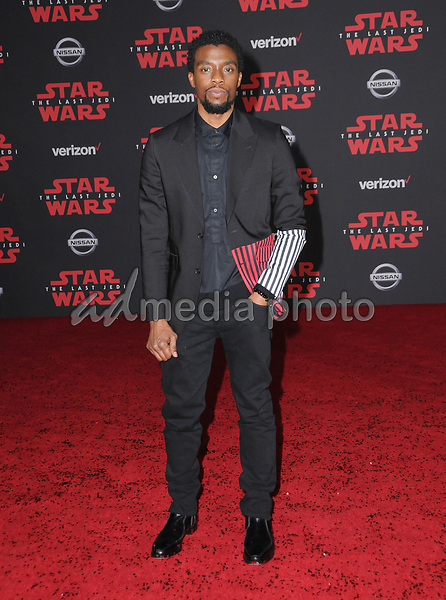 "09 December  2017 - Los Angeles, California - Chadwick Boseman. Premiere Of Disney Pictures And Lucasfilm's ""Star Wars: The Last Jedi"" held at The Shrine Auditorium  in Los Angeles Photo Credit: Birdie Thompson/AdMedia"