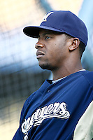 Rickie Weeks of the Milwaukee Brewers during batting practice before a game from the 2007 season at Dodger Stadium in Los Angeles, California. (Larry Goren/Four Seam Images)