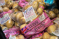 2.5kg jacket potatoes on dispaly for sale in a supermarket
