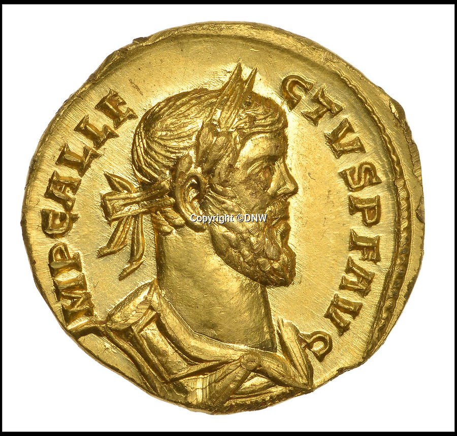 BNPS.co.uk (01202 558833)<br /> Pic: DNW/BNPS<br /> <br /> The coin bears the head of self proclaimed Emperor Allectus.<br /> <br /> A lucky metal detectorist has struck gold after a rare Roman coin he discovered sold at auction for more than £550,000.<br /> <br /> The incredibly rare gold coin was found by the unnamed treasure hunter as he searched a newly-ploughed field next to an old Roman road near Dover, Kent.<br /> <br /> The 30-year-old finder thought the coin was fake at first as it was in such good condition. He realised it was genuine when he weighed it at hefty 4.31 grams.