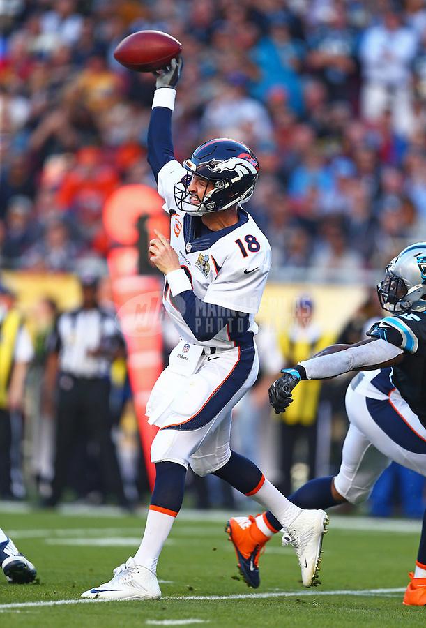 Feb 7, 2016; Santa Clara, CA, USA; Denver Broncos quarterback Peyton Manning (18) throws a pass against the Carolina Panthers in Super Bowl 50 at Levi's Stadium. Mandatory Credit: Mark J. Rebilas-USA TODAY Sports