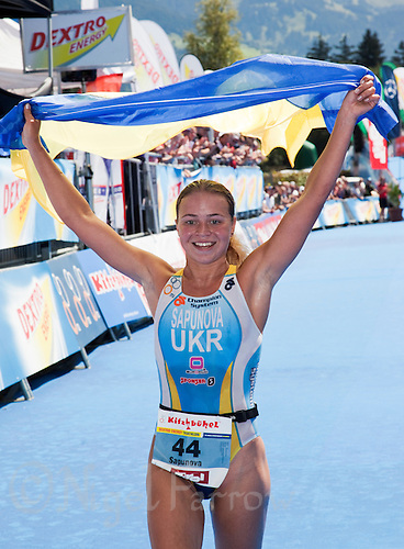 15 AUG 2010 - KITZBUEHEL, AUT - Yuliya Sapunova celebrates victory at the 2010 European Police Triathlon Championships .(PHOTO (C) NIGEL FARROW)