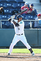 Corey Simpson #36 of the Everett AquaSox bats against the Boise Hawks at Everett Memorial Stadium on July 25, 2014 in Everett, Washington. Everett defeated Boise, 3-1. (Larry Goren/Four Seam Images)