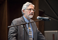 Former director of the White House Office of Science and Technology Policy John P. Holdren speaks on March 22, 2018 in Choi Auditorium as the 2018 Occidental College Phi Beta Kappa speaker, underwritten by the Ruenitz Trust Fund Endowment.<br /> (Photo by Marc Campos, Occidental College Photographer)
