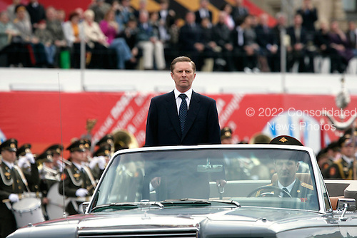 Defense Minister Sergei Ivanov of Russia surveys troops during a military procession commemorating the 60th anniversary of the end of World War II in Red Square, Moscow, Russia, Monday, May 9, 2005. <br /> Credit: Eric Draper - White House via CNP