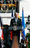 President Bush makes a speech during the Arrival Ceremony hosted by the president and Mrs Bush on the honor of the pope,  in the South Lawn of the  White House, Washington DC, April 16, 2008.