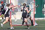 Santa Barbara, CA 02/18/12 - Kelly Harris  (Cal Poly SLO #24), Sarah Lautman (Colorado #13) and Catrina Hickman  (Cal Poly SLO #8) in action during the 2012 Santa Barbara Shootout.  Colorado defeated Cal Poly SLO 8-7.