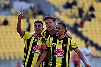 Wellington Phoenix' Sarpreet Singh, Alex Ruferand and  Hamish Watson in action during the A League - Wellington Phoenix v Newcastle Jets at Westpac Stadium, Wellington, New Zealand on Sunday 21 October  2018. <br /> Photo by Masanori Udagawa. <br /> www.photowellington.photoshelter.com