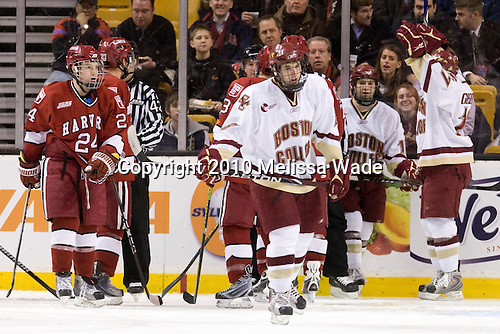 Luke Greiner (Harvard - 24), Edwin Shea (BC - 8), Brian Gibbons (BC - 17) - The Boston College Eagles defeated the Harvard University Crimson 6-0 on Monday, February 1, 2010, in the first round of the 2010 Beanpot at the TD Garden in Boston, Massachusetts.