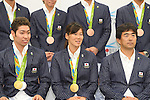 (L-R) Kosuke Hagino, Rie Kaneto,  Norimasa Hirai (JPN), <br /> AUGUST 17, 2016 - Swimming : Japanese Swimming medalist attend a media conference at Ajinomoto National Training Center, Tokyo, Japan. Japanese Swimming players won 2 gold medals, 2 silver medals and 3 bronze medals in the Rio 2016 Olympic Games. (Photo by AFLO SPORT)