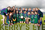 Gaelscoil Faithleann, Killarney pictured at Austin Stacks Park, Tralee on Wednesday. They were competing at the Cumann na mBunscoil Schools County Final. They playedScoil Eoin Balloonagh National School Tralee in the Urban Schools Shield Final which was won by Balloonagh. Pictured, front row: Nancy Ní Mhóra, Kerri Ní Mhaoldomhnaigh, Jade Ní Bhrosnacháin, Siobhán Ní Bhroin, Ellen Ní Chofaigh, Ríonach De Bhillís, Éadaoin Ní Mhurchú and Michaela Aghas. Back row: Aimée Ní Fhiarais, Caoimhe Ní Dhubhghaill, Eimear Ní Dhubhghaill, Lorna Ní Ghrifín, Imogen Ní Chonchúir, Áine Ní Dhonnachú, Eve Ní Chofaigh, Laura Corlett, Andrea Ní Dhonnchú and Grace Ní Shúilleabháin. (Missing Lauren Nic Gearailt). Team trainer was teacher Tomás Ó Murchú.