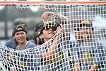 TAMPA, FL - MAY 20: Bryanna Fazio #14 of the Le Moyne Dolphins cuts down the net during the Division II Women's Lacrosse Championship held at the Naimoli Family Athletic and Intramural Complex on the University of Tampa campus on May 20, 2018 in Tampa, Florida. Le Moyne defeated Florida Southern 16-11 for the national title. (Photo by Jamie Schwaberow/NCAA Photos via Getty Images)