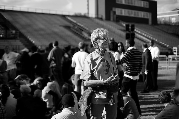 November 1, 2007. Durham, NC.. US senator and presidential candidate, Barack Obama, held a fundraiser at O?Kelly Riddick Stadium, at North Carolina Central University, in Durham, NC.. Janie Paone, of Wilmington, NC, waits for the rally to start.