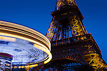 Carousel and the Eiffel tower, Paris, Ile-de-france, France