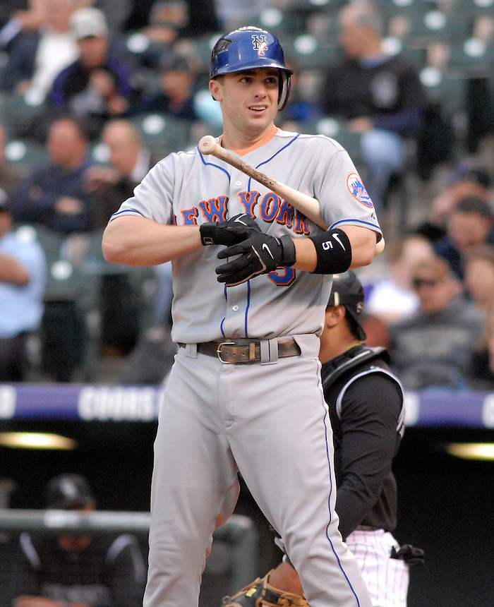 Mets 3rd baseman David Wright during a game between the New York Mets and the Colorado Rockies at Coors Field in Denver, Colorado on May 23, 2008.