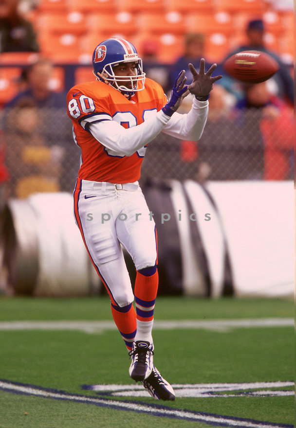 Denver Broncos Rod Smith (84) during a game from his 1996 with the Denver Broncos. Rod Smith played for 12 years all with the Denver Broncos and was a 3-time Pro Bowler.(SportPics)