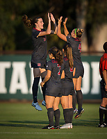 STANFORD, CA - August 10, 2018: Jaye Boissiere, Belle Briede, Carly Malatskey, Tierna Davidson at Laird Q. Cagan Stadium. The Stanford Cardinal defeated the Fresno State Bulldogs 4-0.