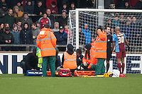James Severn (Scunthorpe) reserve keeper gets a broken arm also<br />  - Scunthorpe United vs Bristol City - Sky Bet League One Football at Glanford Park, Scunthorpe, Lincolnshire - 17/01/15 - MANDATORY CREDIT: Mark Hodsman/TGSPHOTO - Self billing applies where appropriate - contact@tgsphoto.co.uk - NO UNPAID USE