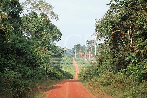Juruena, Mato Grosso, Brazil. Dirt road cutting through the Amazon rainforest.