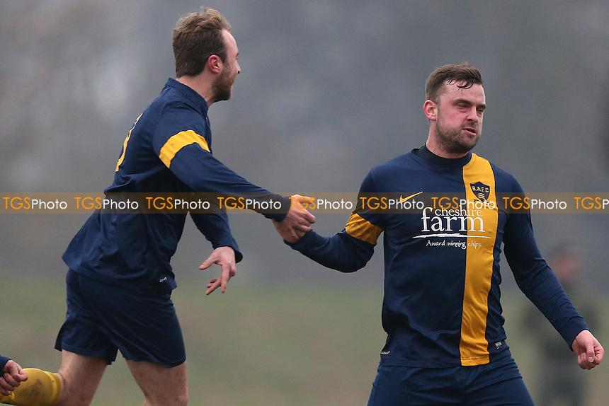 Bocca celebrate their first goal - Bocca Albion (blue/yellow) vs FC BKT, Hackney & Leyton Sunday League Junior Cup Semi-Final Football at Hackney Marshes on 12th February 2017