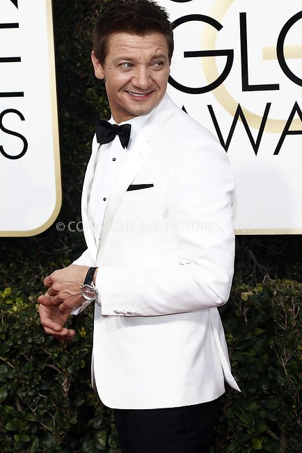 www.acepixs.com<br /> <br /> January 8 2017, LA<br /> <br /> Jeremy Renner arriving at the 74th Annual Golden Globe Awards at the Beverly Hilton Hotel on January 8, 2017 in Beverly Hills, California.<br /> <br /> By Line: Famous/ACE Pictures<br /> <br /> <br /> ACE Pictures Inc<br /> Tel: 6467670430<br /> Email: info@acepixs.com<br /> www.acepixs.com