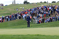 Jon Rahm (ESP) chipping onto the 1st green during Round 3 of the Open de Espana 2018 at Centro Nacional de Golf on Saturday 14th April 2018.<br /> Picture:  Thos Caffrey / www.golffile.ie<br /> <br /> All photo usage must carry mandatory copyright credit (&copy; Golffile | Thos Caffrey)