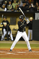UCF Knights outfielder Eugene Vazquez (18) at bat during the opening game of the season against the Siena Saints on February 13, 2015 at Jay Bergman Field in Orlando, Florida.  UCF defeated Siena 4-1.  (Mike Janes/Four Seam Images)