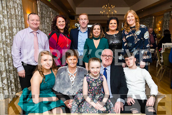Denis and Sheila O'Sullivan, Tralee, who celebrated their 50th Wedding Anniversary with family at Ballygarry House Hotel & Spa, Tralee, on Saturday night last were front l-r: Rachel Costello, Sheila O'Sullivan, Chloe O'Sullivan, Denis O'Sullivan and Conor O'Sullivan. Back l-r: Joby Costello, Tanya O'Sullivan Timmy O'Sullivan, Grainne O'Sullivan, Majella O'Sullivan and Denise Costello.
