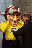 Hurricanes mascot Captain Hurricanes prepares to run out for the Super Rugby match between the Hurricanes and Chiefs at Westpac Stadium in Wellington, New Zealand on Friday, 13 April 2018. Photo: Dave Lintott / lintottphoto.co.nz
