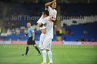 Kolarov of Serbia and Manchester City celebrates with team mate Markovic during the Wales v Serbia FIFA World Cup 2014 Qualifier match at Cardiff City Stadium, Cardiff, Wales -Tuesday 10th Sept 2014. All images are the copyright of Jeff Thomas Photography-07837 386244-www.jaypics.photoshelter.com