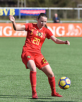 20180326 - ZALTBOMMEL , THE NETHERLANDS : Belgian Hannah Eurlings pictured during the UEFA Women Under 17 Elite round game between Belgium WU17 and Romania WU17, on the second matchday in group 1 of the Uefa Women Under 17 elite round in The Netherlands , monday 26 th March 2018 . PHOTO SPORTPIX.BE    DIRK VUYLSTEKE