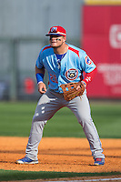 Tennessee Smokies first baseman Dan Vogelbach (21) on defense against the Birmingham Barons at Regions Field on May 3, 2015 in Birmingham, Alabama.  The Smokies defeated the Barons 3-0.  (Brian Westerholt/Four Seam Images)