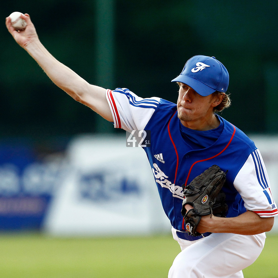 24 June 2011: Owen Ozanich of Team France pitches against UCLA Alumni during France 8-5 win over UCLA Alumni, at the 2011 Prague Baseball Week, in Prague, Czech Republic.