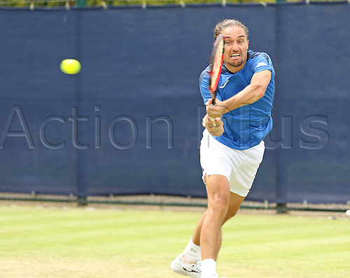 21.06.2016. Nottingham Tennis Centre, Nottingham, England. Aegon Open Mens ATP Tennis. Backhand from Alexandr Dolgopolov of Ukraine who beat Kyle Edmund of Great Britain in two sets