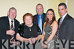 WELCOME: Seamus Moynihans parents, Dan and Nuala welcome Kildares Glen Ryan with his wife Josephine and Galway star Padraig Joyce to the Seamus Moynihan tribute in the Killarney Great Southern Hotel last Friday night..