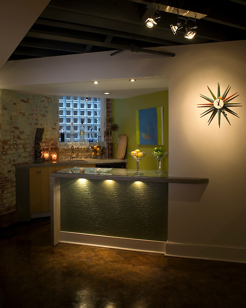Wet Bar in a Richmond Contemporary Basement Remodel.