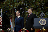 Washington, DC., USA, November 13, 1984<br /> President Ronald Reagan delivers Remarks at the Welcoming Ceremony for the Grand Duke and Grand Duchess of Luxembourg Credit: Mark Reinstein/MediaPunch