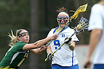 22 February 2015: Duke's Kerrin Maurer (9) and William & Mary's Julia McGrath (12). The Duke University Blue Devils hosted the College of William & Mary Tribe on the West Turf Field at the Duke Athletic Field Complex in Durham, North Carolina in a 2015 NCAA Division I Women's Lacrosse match. Duke won the game 17-7.