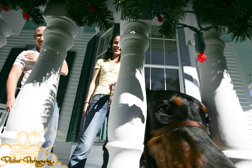 Paula Toso, Ron Craddock and their doberman James on Sunday, December 9, 2008, at the DeBary Hall Mansion in DeBary. They are getting married July 13, 2009. (Chad Pilster, PilsterPhotography.net for the Orlando Sentinel)